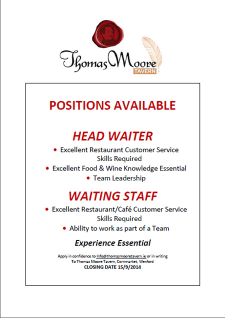 Staff wanted wexford