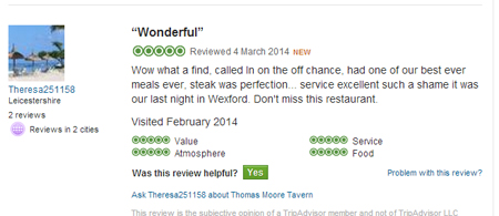 A lovely review on tripadvisor